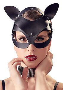 Kočičí fetish maska Bad Kitty Cat Mask Rhinestones